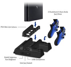 Dobe PS4 Slim ve Pro Stand ve Şarj istasyonu. ürün görseli