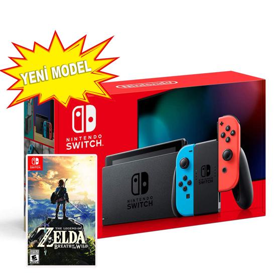 Nintendo Switch Red Neon Blue Yeni Model + The Legend of Zelda Breath of the Wild. ürün görseli