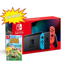 Nintendo Switch Red Neon Blue Yeni Model + Animal Crossing New Horizons Oyunu. ürün görseli
