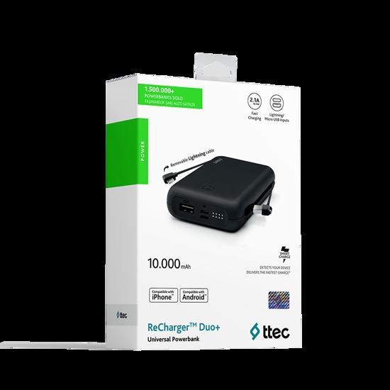 ReCharger Duo+ iphone 10.000mAh Lightning Dahili Kablolu Taşınabilir Şarj Aleti. ürün görseli