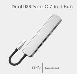 HONCAM 7 in 1 HDMI SD USB Type C USB 3.0 Macbook Çevirici Adaptör. ürün görseli